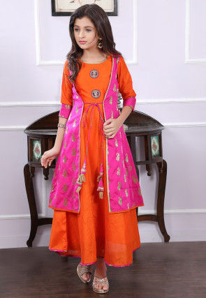 Woven Art Silk Layered Kurta in Orange and Fuchsia