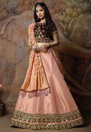 Woven Art Silk Lehenga in Baby Pink