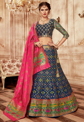 Woven Art Silk Lehenga in Navy Blue