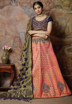 Woven Art Silk Lehenga in Peach