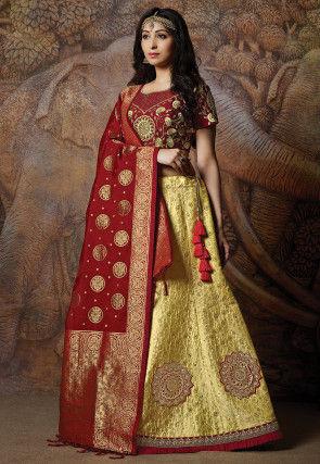 Woven Art Silk Lehenga in Yellow