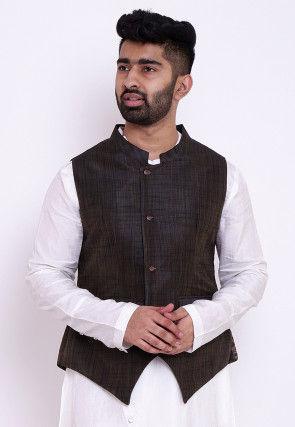 Woven Art Silk Nehru Jacket in Dark Brown
