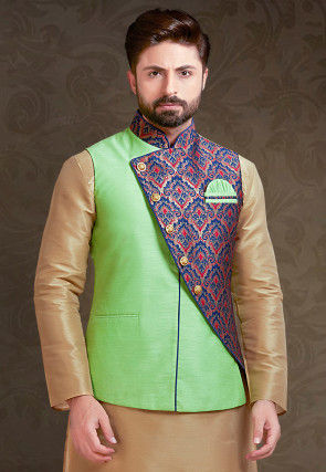 Woven Art Silk Nehru Jacket in Light Green and Multicolor