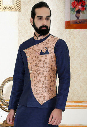 Woven Art Silk Overlapping Nehru Jacket in Navy Blue and Peach