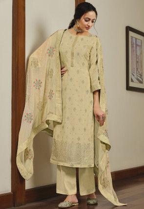 Woven Art Silk Pakistani Suit in Beige