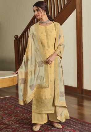 Woven Art Silk Pakistani Suit in Light Orange