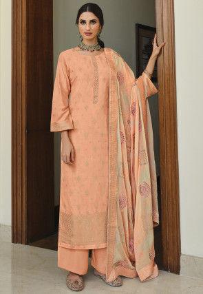 Woven Art Silk Pakistani Suit in Peach