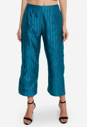 Woven Art Silk Palazzo in Teal Blue