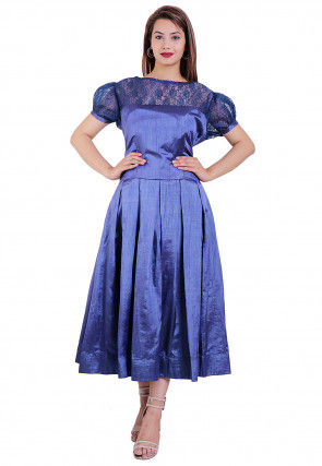 Solid Color Art Silk Pleated Dress in Blue