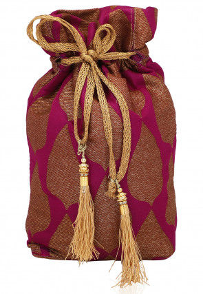 Woven Art Silk Potli Bag in Pink