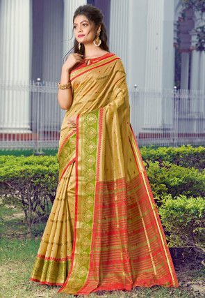 Woven Art Silk Saree in Beige