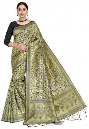 Woven Art Silk Saree in Black and Golden