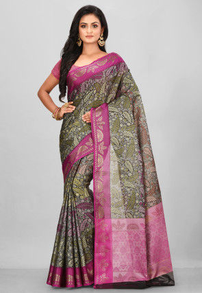 Woven Art Silk Saree in Black and Green