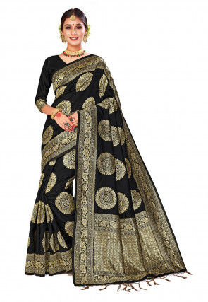 Woven Art Silk Saree in Black