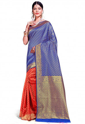 Woven Art Silk Saree in Blue and Red