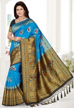 Woven Art Silk Saree in Blue