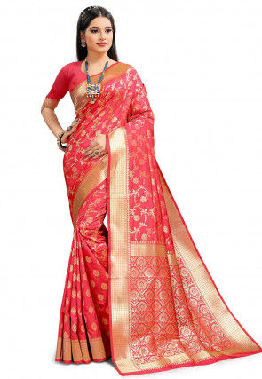 Woven Art Silk Saree in Coral Pink