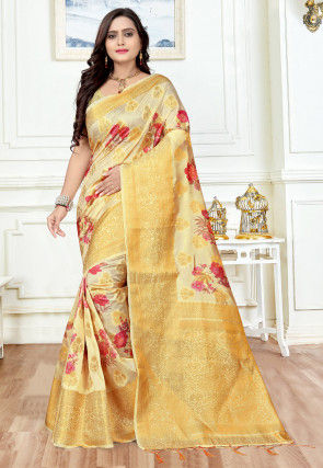 Woven Art Silk Saree in Cream