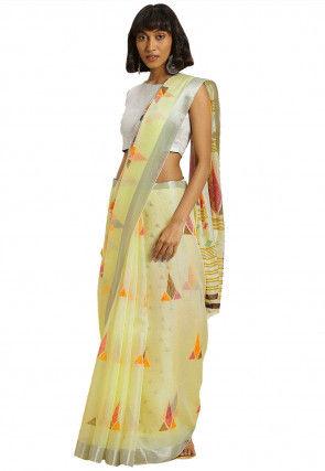 Woven Art Silk Saree in Cream