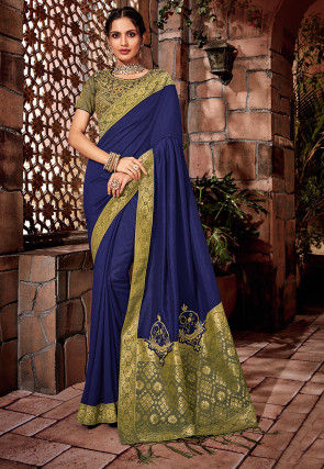 Woven Art Silk Saree in Dark Blue