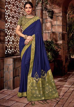 Woven Art Silk Saree in Dark Blue