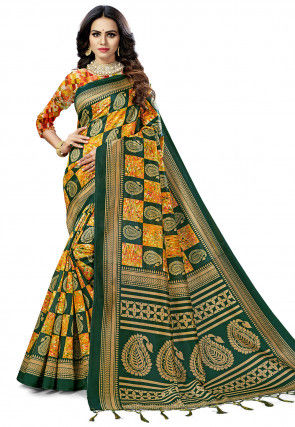 Woven Art Silk Saree in Dark Green and Mustard