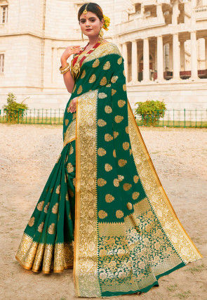 Woven Art Silk Saree in Dark Green