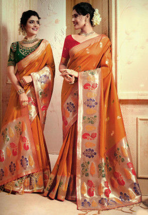 Woven Art Silk Saree in Dark Mustard