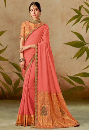 Woven Art Silk Saree in Dark Peach