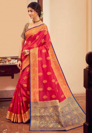 Woven Art Silk Saree in Dark Pink