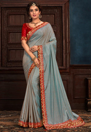 Woven Art Silk Saree in Dusty Blue