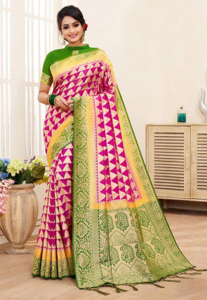 Woven Art Silk Saree in Fuchsia and Green