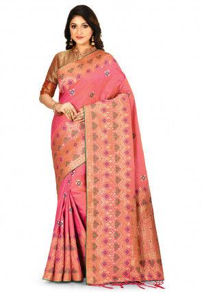 Woven Art Silk Saree in Fuchsia and Orange Dual Tone