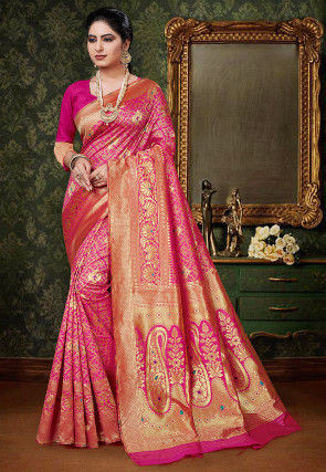 Woven Art Silk Saree in Fuchsia