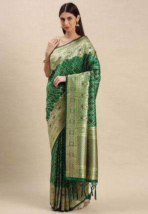 Woven Art Silk Saree in Green