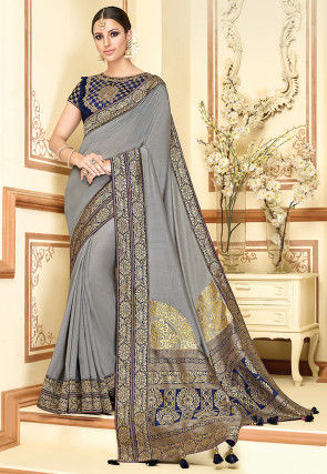 Woven Art Silk Saree in Grey