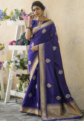 Woven Art Silk Saree in Indigo Blue