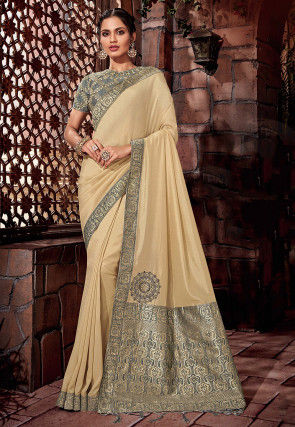 Woven Art Silk Saree in Light Beige