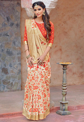 Woven Art Silk Saree in Light Beige