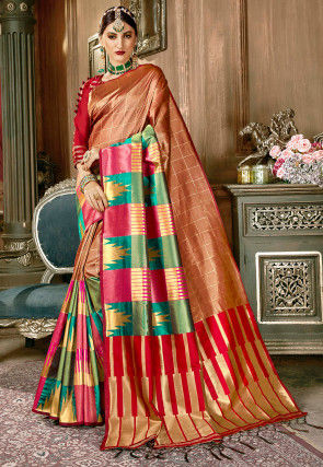 Woven Art Silk Saree in Light Brown and Multicolor
