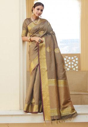 Woven Art Silk Saree in Light Brown