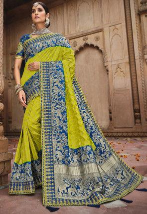 Woven Art Silk Saree in Light Green