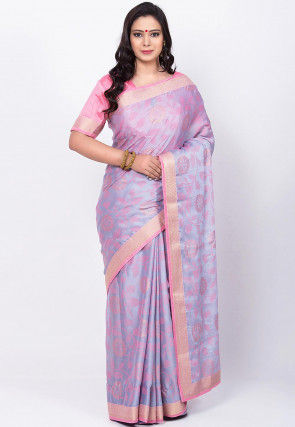 Woven Art Silk Saree in Light Grey and Light Pink