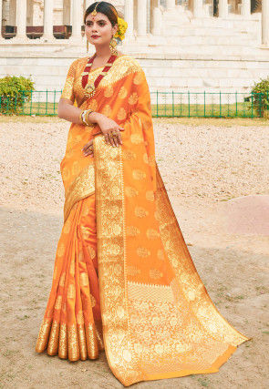Woven Art Silk Saree in Light Orange