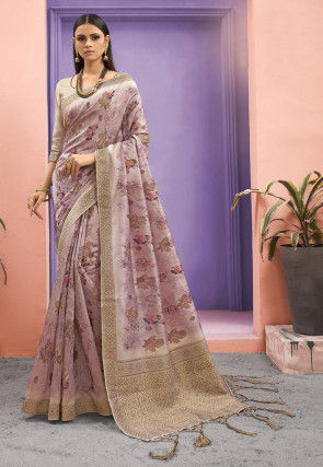 Woven Art Silk Saree in Light Purple
