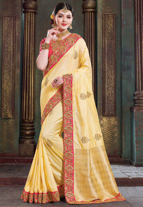 Woven Art Silk Saree in Light Yellow