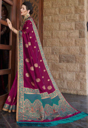 Woven Art Silk Saree in Magenta
