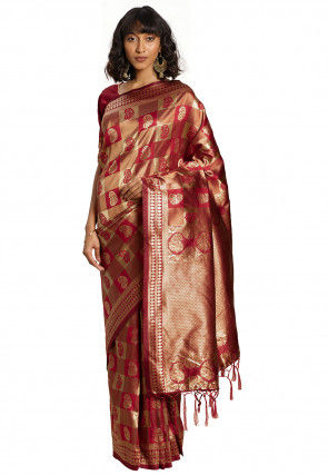 Woven Art Silk Saree in Maroon and Golden