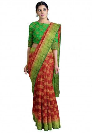 Woven Art Silk Saree in Maroon
