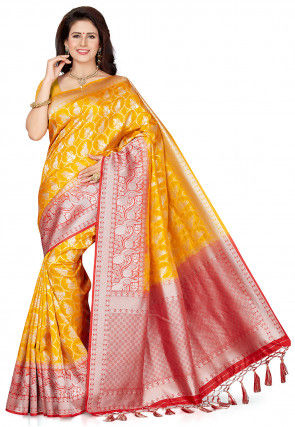 Woven Art Silk Saree in Mustard and Red